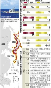 東シナ海における最近の中国公船の動き/南シナ海をめぐる最近の動き