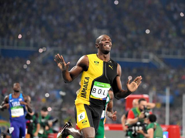 男子100メートルで優勝したウサイン・ボルト=諫山卓弥撮影