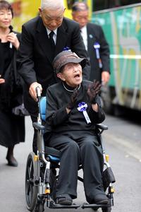 最高齢参列者の中野佳寿さん=15日午前10時6分、東京都千代田区、金川雄策撮影