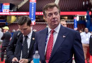 米大統領選の共和党候補トランプ氏陣営のポール・マナフォート選対本部長。7月18日、オハイオ州クリーブランドで共和党全国大会の開会前、会場で撮影=AP