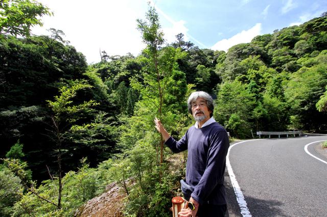 ミドリムヨウランが発見された森(左)を前に保護を訴える山下大明さん=屋久島町