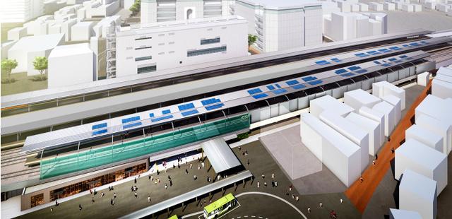 ホームの屋根に太陽光発電パネルが取りつけられたJR浦和駅のイメージ図=JR東日本大宮支社提供