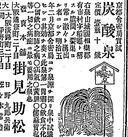1884(明治17)年8月の朝日新聞(大阪)に掲載された「山城炭酸泉」の広告