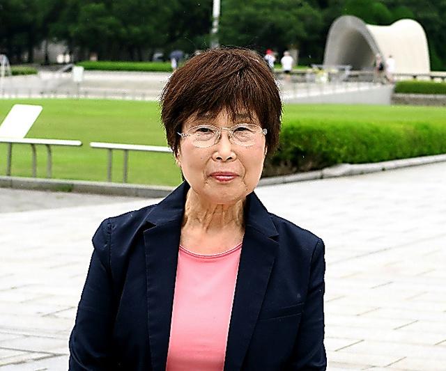 小倉桂子さん。石巻を訪れ、広島の被爆を伝える活動について話した