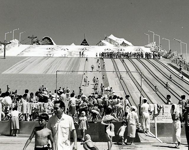 船橋ヘルスセンターに登場した当時の「大滝すべり」。この時は100メートルレーンがない=丹澤太良さん提供