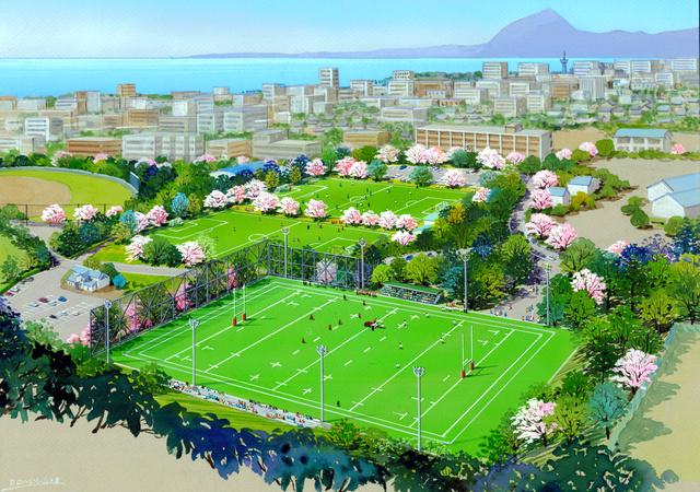 ラグビー場にして天然芝を張った実相寺多目的グラウンドのイメージ図=別府市提供