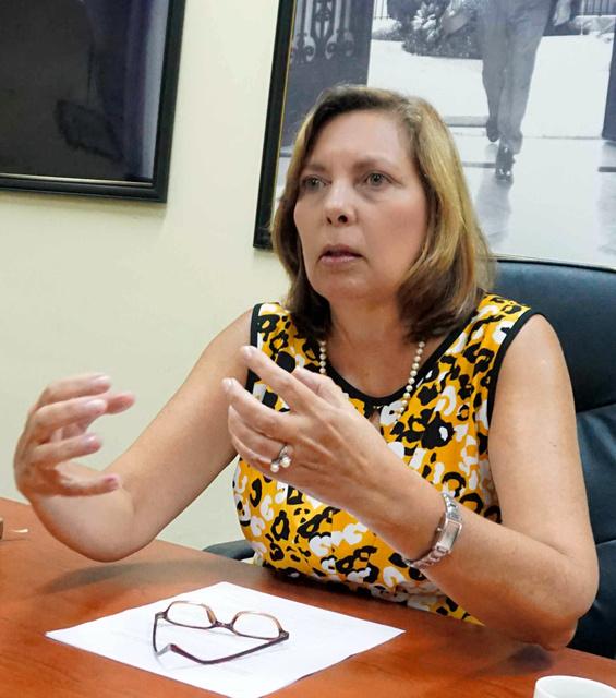 キューバ外務省で朝日新聞の取材に答えるビダル米国局長=ハバナ、平山亜理撮影