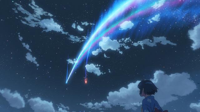 「君の名は。」から、夜空に美しい弧を描く彗星(すいせい)