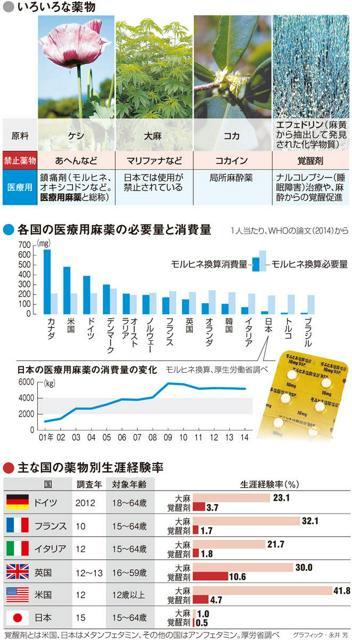 いろいろな薬物/各国の医療用麻薬の必要量と消費量/日本の医療用麻薬の消費量の変化/主な国の薬物別生涯経験率<グラフィック・永井芳>