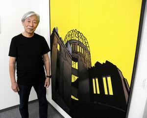 原爆ドームを描いた作品と大野比呂志さん=名古屋市中区錦3丁目