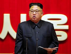 演説する金正恩・朝鮮労働党委員長=8月2~3日、平壌(朝鮮中央通信=朝鮮通信)