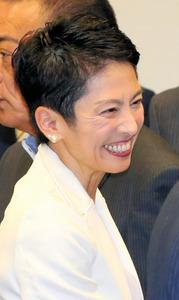 民進党の新代表に選ばれた蓮舫代表代行=15日、東京・永田町、飯塚晋一撮影