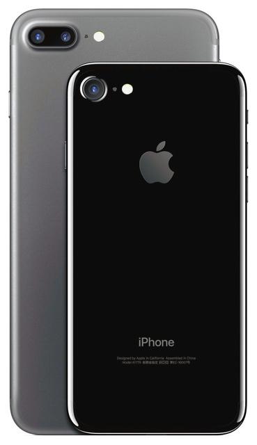 「iPhone7」のジェットブラックと、「iPhone7プラス」のブラック。「iPhone7プラス」には二つのカメラが搭載され、ズームが最大10倍になる(アップル提供)