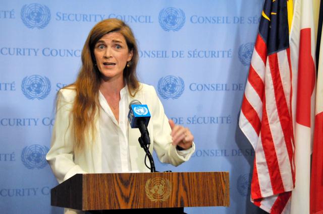 ロシアを批判する米国のパワー国連大使=17日午後7時38分、米ニューヨークの国連本部、金成隆一撮影