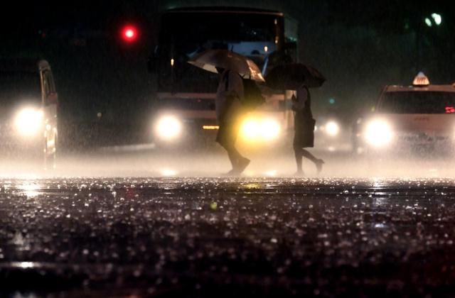 激しい雨が降り路上を打ち付けた=19日午後7時6分、宮崎市、福岡亜純撮影