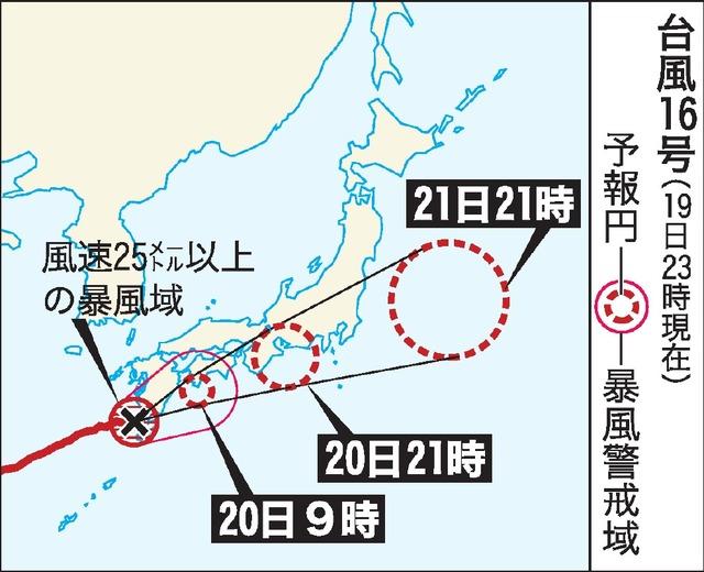 台風16号(19日23時現在)