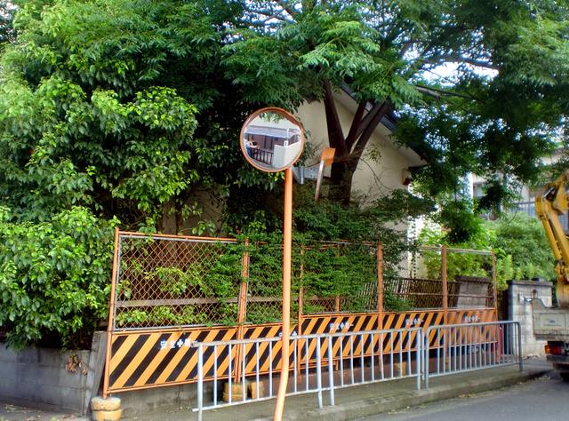 生い茂った庭木でブロック塀が倒壊する恐れが生じた空き家。大阪府箕面市は公費でフェンスを設けて防いだ(同市提供)