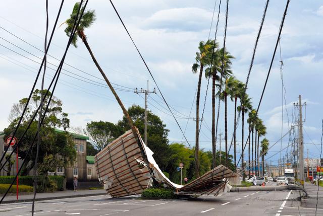 資材置き場の屋根が飛んで電柱をなぎ倒し、道路が通行止めとなった=20日午前7時19分、宮崎市阿波岐原町、伊藤秀樹撮影