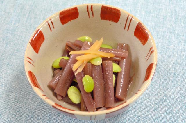 紅ズイキと枝豆の甘酢あえ