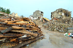 地震で壊滅的な被害を受けたアマトリーチェ中心部=21日、山尾有紀恵撮影