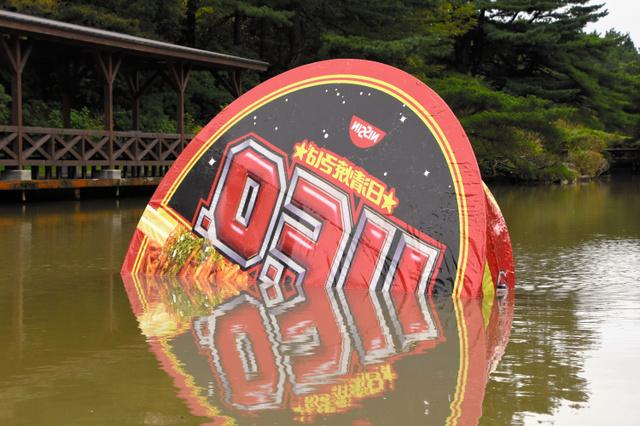 六甲山カンツリーハウスの池に「墜落」した岡本光博さんの作品=神戸市灘区