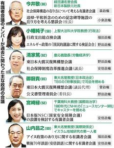 有識者会議のメンバーが過去に関わった主な政府の会議