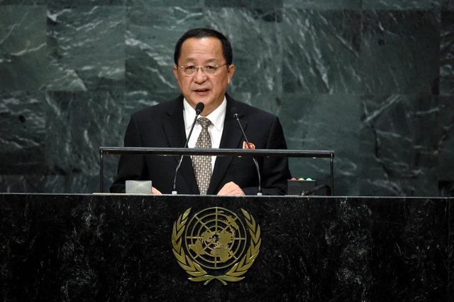 米ニューヨークで23日、国連総会で演説する北朝鮮の李容浩外相=AFP時事