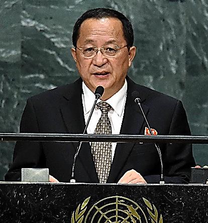 23日、国連総会で演説する北朝鮮の李容浩外相=AFP時事