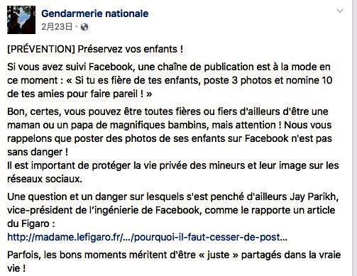 FB上で子どもの写真の投稿について注意を呼びかけるフランス警察のFBページ=FBより