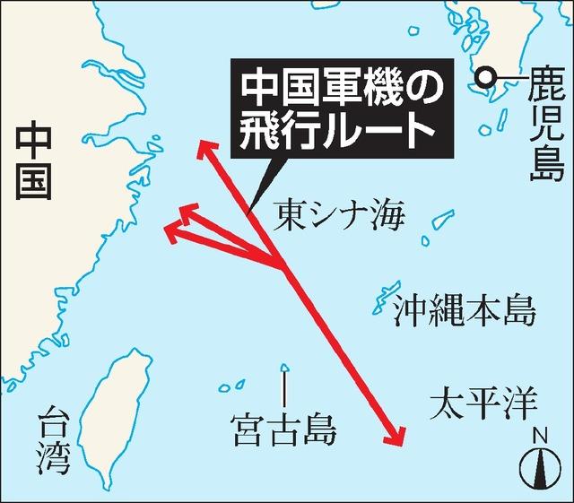 中国軍機の飛行ルート