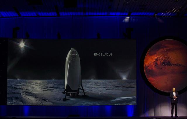 メキシコで開かれた国際宇宙会議で27日、米宇宙企業スペースXが火星への有人宇宙船計画の詳細を公表した=AFP時事