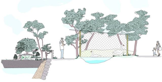 ハクチョウの飼育施設のイメージ図=宇部市提供
