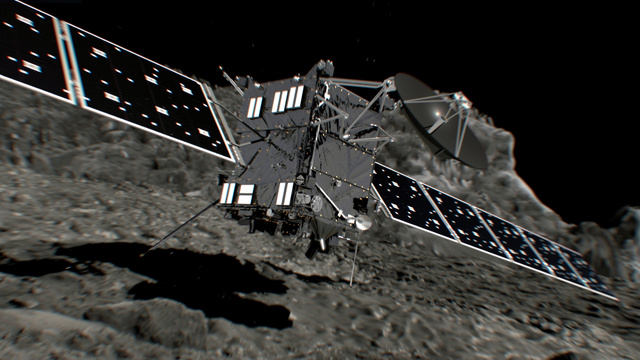 彗星(すいせい)に着地するロゼッタのイメージ図=欧州宇宙機関(ESA)提供