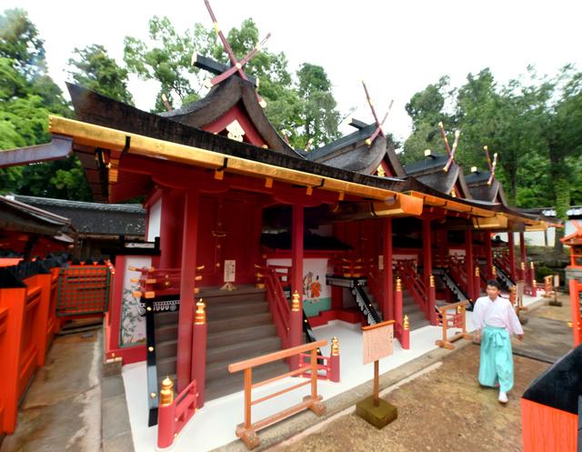 修理が終わり報道公開された春日大社の本殿=3日午後、奈良市、井手さゆり撮影