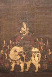 廬山寺の「普賢十羅刹女像」。白象に乗った普賢菩薩を11人の女神が囲む=佐藤慈子撮影