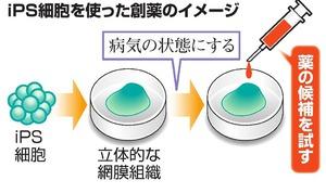 iPS細胞を使った創薬のイメージ