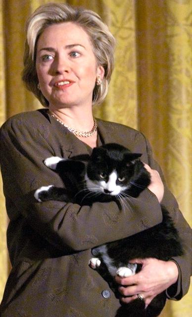 ホワイトハウスの人気者だったクリントン大統領家時代のソックス=AP。ペットの扱いは2012年の米大大統領選では争点になった