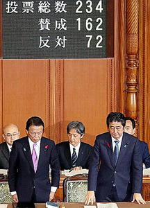 第2次補正予算が参院本会議で可決、成立し、起立して一礼する安倍晋三首相(右)と麻生太郎財務相=11日、飯塚晋一撮影