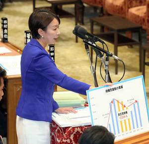 衆院予算委で質問する民進党の山尾志桜里氏=12日午後1時1分、岩下毅撮影
