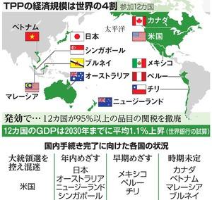 TPPの経済規模は世界の4割/国内手続き完了に向けた各国の状況