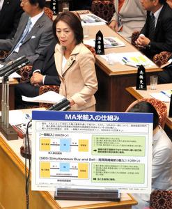 参院予算委で、パネルを使って質問する民進党の徳永エリ氏=13日午前10時41分、岩下毅撮影