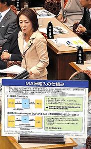 参院予算委で、パネルを使って質問する民進党の徳永エリ氏=13日午前、岩下毅撮影