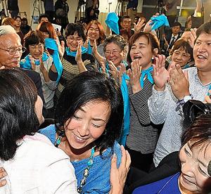 米山隆一氏の当選確実の一報が流れ、喜ぶ支持者ら=16日午後9時3分、新潟市、諫山卓弥撮影