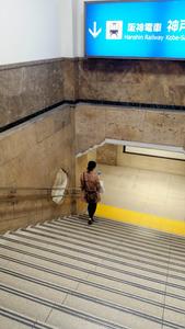 そごう神戸店の開業時からのものと思われる階段と踊り場=神戸市中央区で