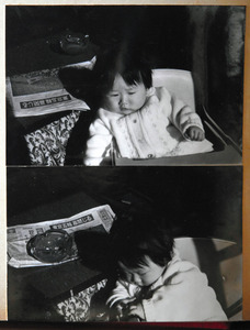 閉会式の翌日、朝刊と一緒に撮った長女祐子さん=本人提供