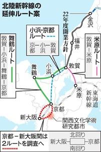 北陸新幹線の延伸ルート案