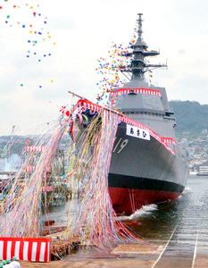 三菱重工業長崎造船所で進水式を迎えた、海上自衛隊の護衛艦「あさひ」=19日午前、長崎市、高橋尚之撮影