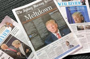 トランプ氏による、女性に関するわいせつな発言の録音データが暴露された後のシドニーの地元各紙。1面で「一巻の終わり」の見出しを付けた紙面も