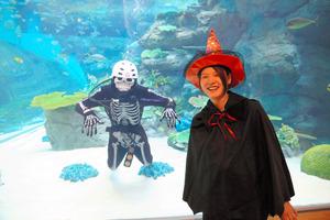 ガイコツ姿のダイバーと魔女姿の飼育員が、雰囲気を盛り上げる=名古屋港水族館提供