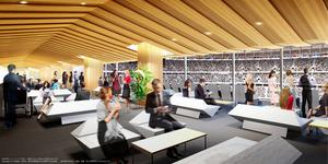 新国立競技場で各国首脳らが使う「VVIPラウンジ」のイメージ図=大成建設・梓設計・隈研吾建築都市設計事務所JV作成/JSC提供